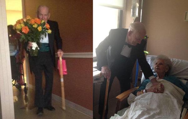 In salute e in malattia: in ospedale dalla moglie con smoking, cioccolatini e  fiori.